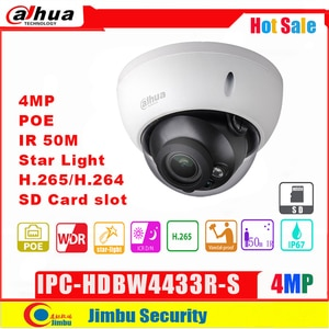 Dahua  4MP IP Camera IPC-HDBW4433R-S H2.65 night vision IR50M with Micro SD memory 128G IP67, IK10 cctv camera