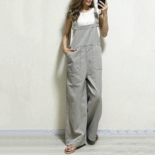 Women Rompers And Jumpsuites 2021 Fashion Plain With Pockets Casual Loose Straight Wide Leg Cute Kor