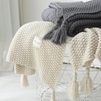 lism top quailty sofa bed knitted blanket with tassel nordic style travel throw blanket for bed sofa