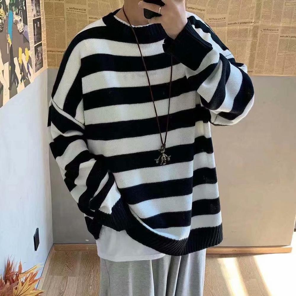 Men Striped Casual Knitted Sweater Men's Korean Collage Autumn Pullover Tops Male O-Neck Oversize Sweater Fashions