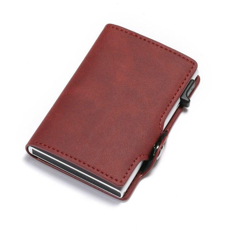 BISI GORO RFID bloquant Vintage automatique en cuir porte-carte de crédit en métal en aluminium porte-carte didentité daffaires mince porte-monnaie