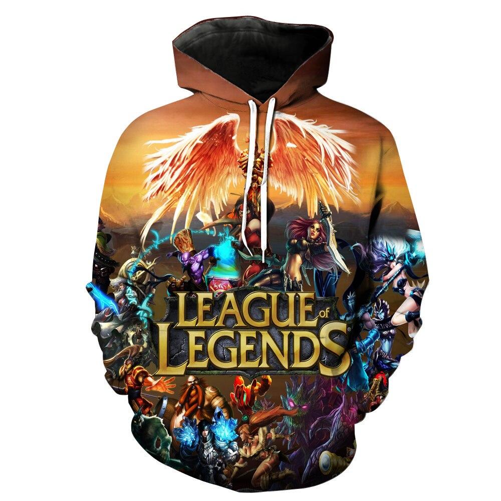 Liga das lendas 3d impressão moletom hoodies sudadera hombre lol jogo traje com capuz hip hop engraçado homem outono streetwear