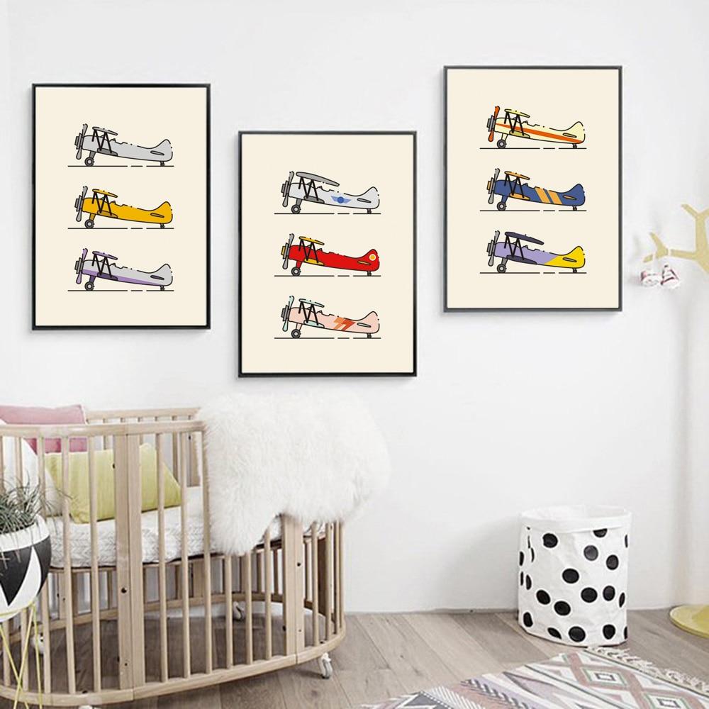 Póster nórdico clásico minimalista de avión Biplane e impresiones cuadro sobre lienzo para pared fotos para sala de estar decoración del hogar