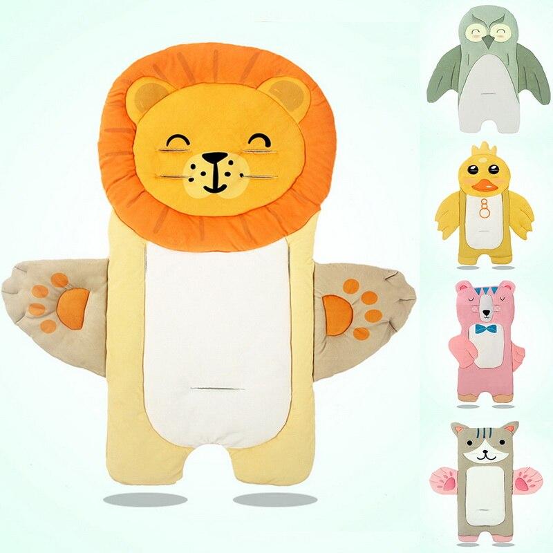 Cysincos dos desenhos animados recém-nascidos acessórios esteira do trole algodão cuidados com o bebê carrinho de bebê almofada colchão assento do bebê almofada carrinho de carrinho inserção forro