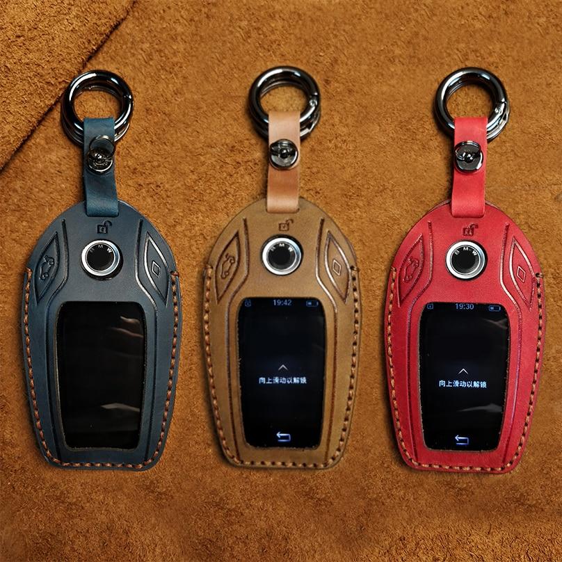 Couro genuíno caso chave do carro capa titular saco remoto chave para bmw série 7 740 6 gt série 5 530i x3 exibir chave