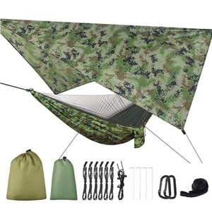 Camping Mosquito Net Hammock Tent With Waterproof Canopy Awning Netting Set F3MB