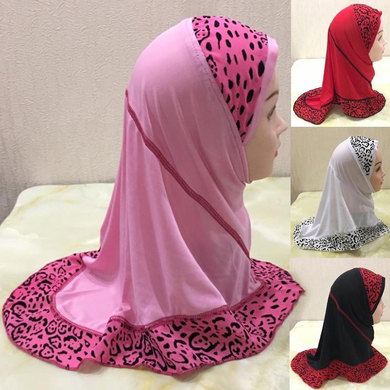 Girls Kids Muslim Hijab Hats Islamic Arab Prayer Scarf Cap Shawls Amira Headwear Leopard Patchwork H