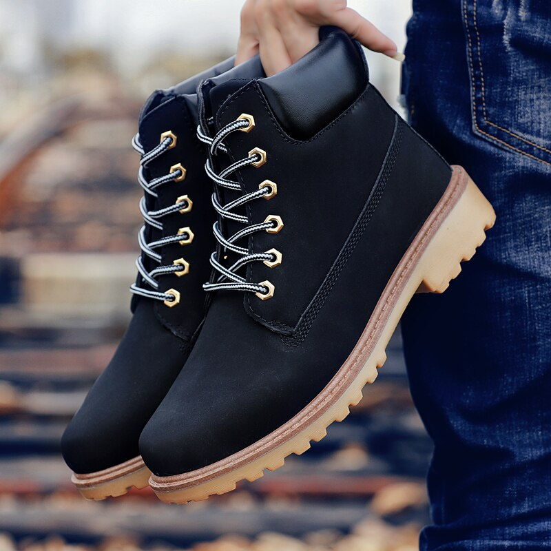 Coturno Black High Top Mens Boots Leather Winter Snow Boots Men Waterproof With Keep Warm Timber Bot Booties Land Shoes
