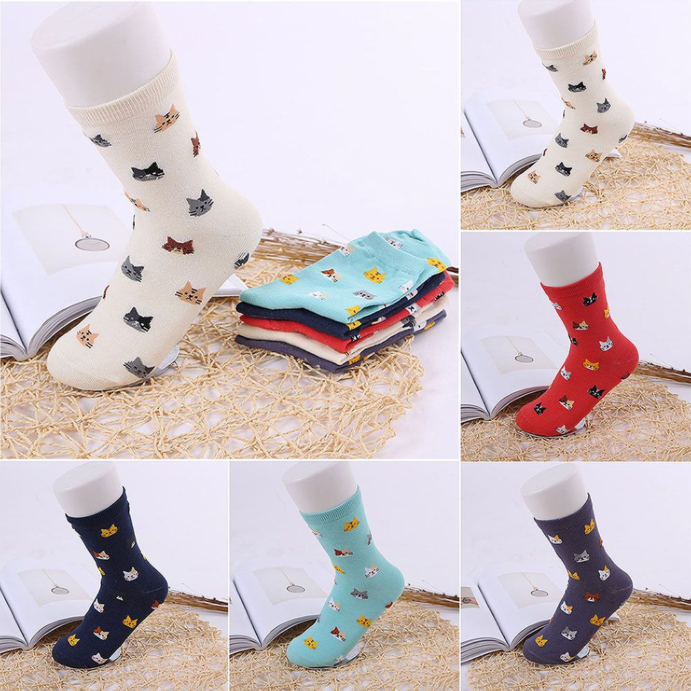 Fashion Autumn winter 5 Colors Women Girls Short Sock Cotton Cartoon Cute Cat Animals Pattern Casual Funny Hosiery Ankle Socks