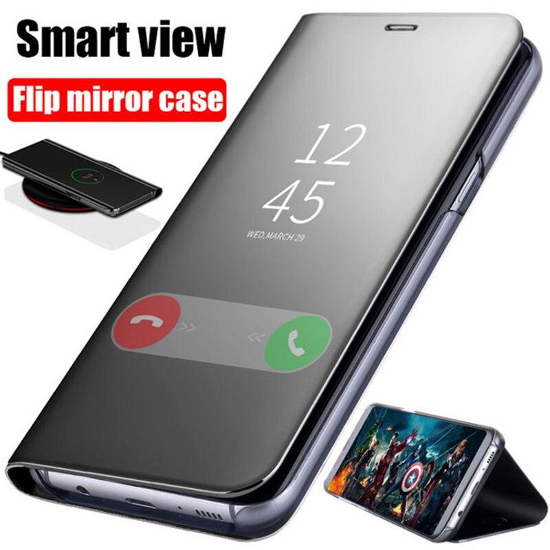 Capa de couro espelhada inteligente para xiaomi, capa transparente de luxo para modelos xiaomi redmi 10x 5g 4g mi note 10 pro lite capa magnética