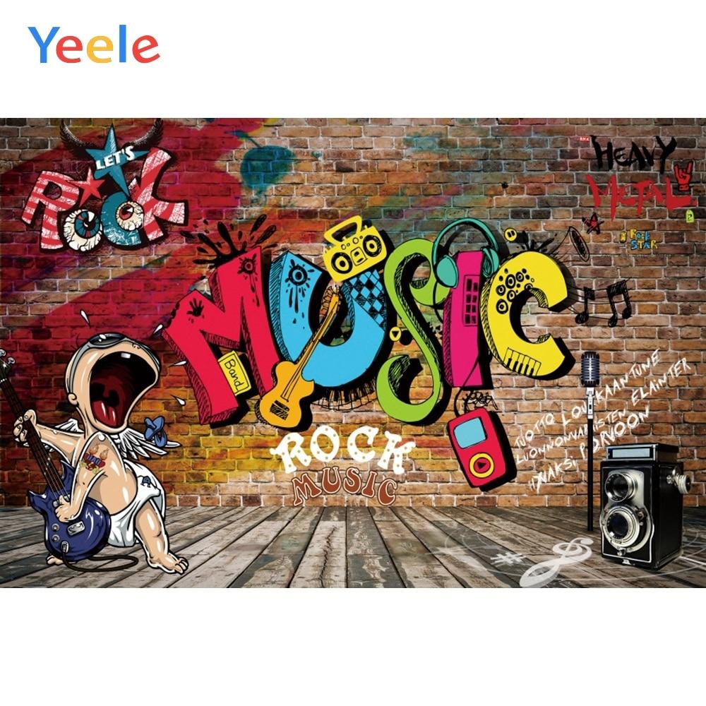 Yeele Photozone музыка рок вечерние фон Плакат кирпичная стена деревянный пол Виниловый фон для фотосъемки Фотофон