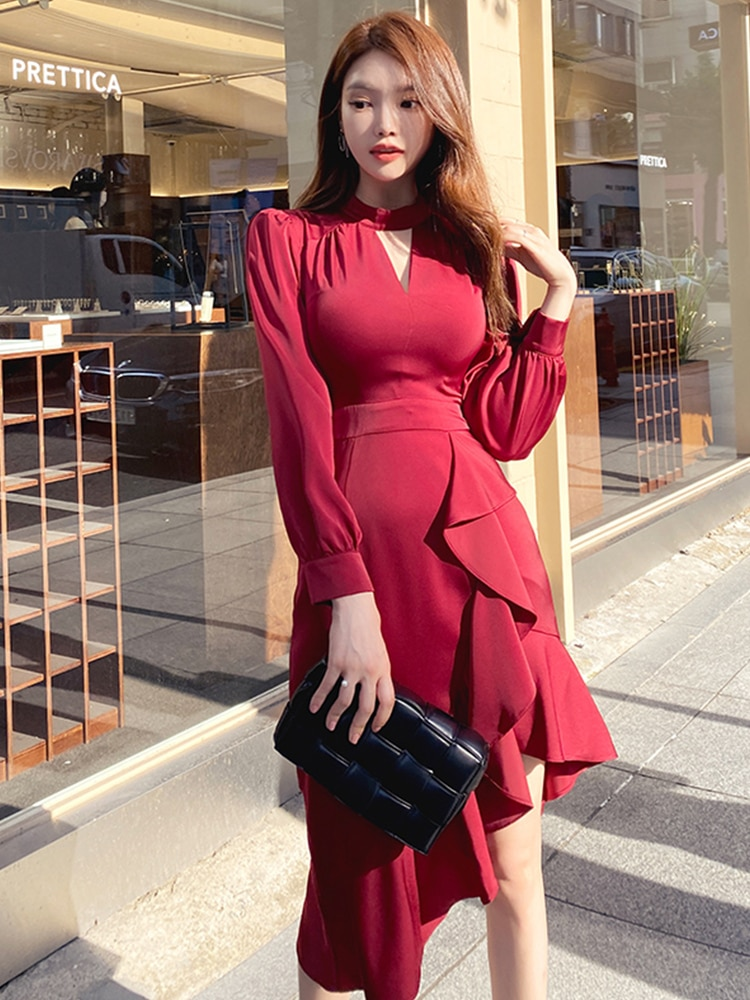 2021 spring new long-sleeved skirt female French western style slim slimming buttocks temperament fishtail sexy dress