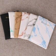 Mode femmes hommes passeport couverture en cuir Pu marbre Style voyage ID carte de crédit porte-passeport paquet portefeuille sac à main sacs pochette