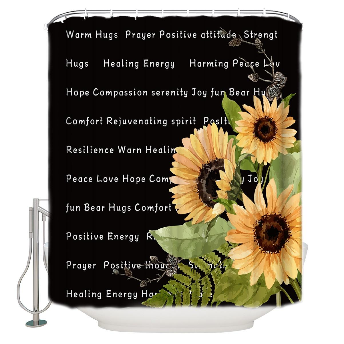 Quente abraçar presente de terapia de energia positiva obtenha bem em breve energia positiva girassol preto decoração do banheiro com ganchos à prova dwaterproof água