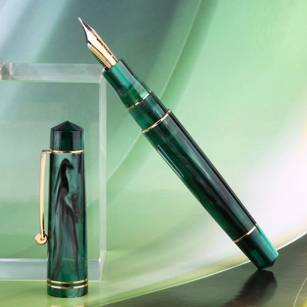 1 ud. Pluma estilográfica de resina BOCK Nib/plumín MOONMAN con convertidor Clip dorado hermoso bolígrafo de escritura Oficina escuela papelería regalo