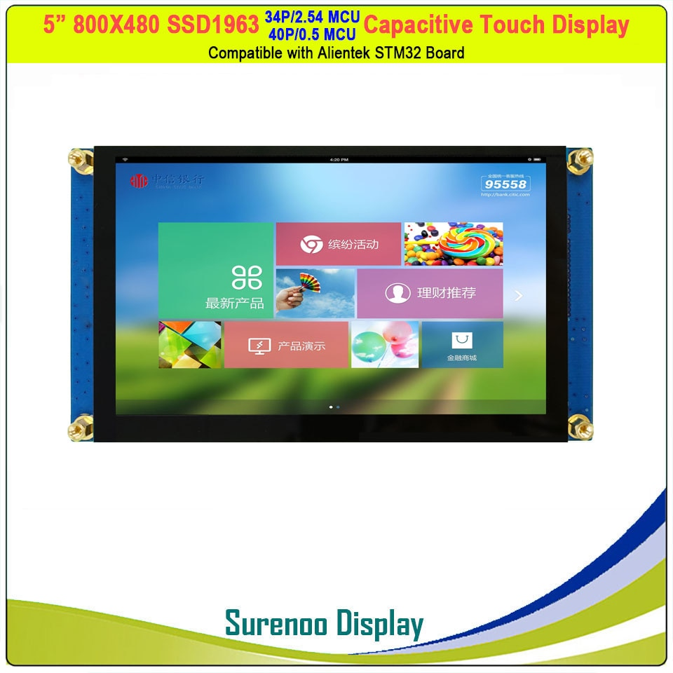 "5 ""/5,0"" zoll 800*480 SSD1963 40 P/34P_MCU TFT Kapazitiven Touch LCD Modul Display bildschirm Panel Kompatibel Alientek STM32 Bord"