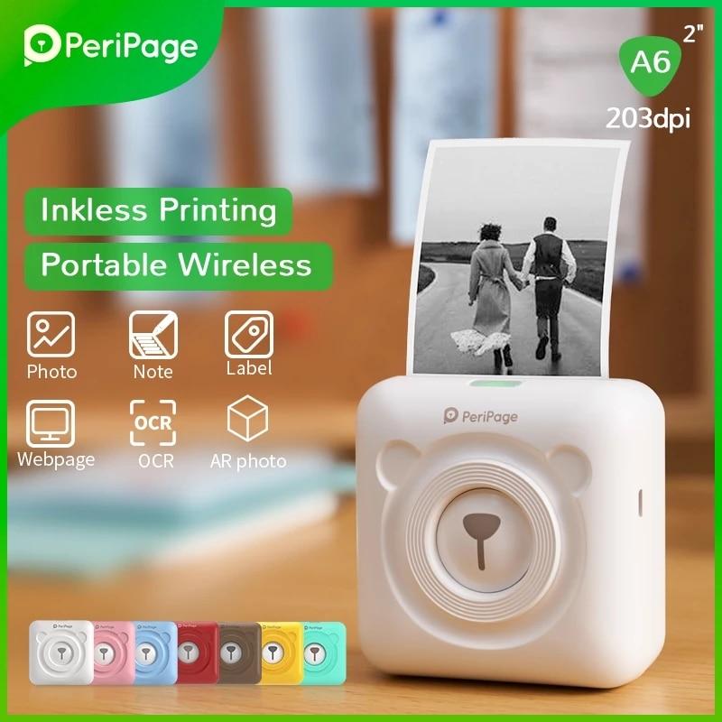 طابعة صور جديدة من PeriPage A6 مزودة بجيب طابعة حرارية لاسلكية تعمل بالبلوتوث طابعة صور ملصقات للمذكرة استلام الورق AR طابعة صور