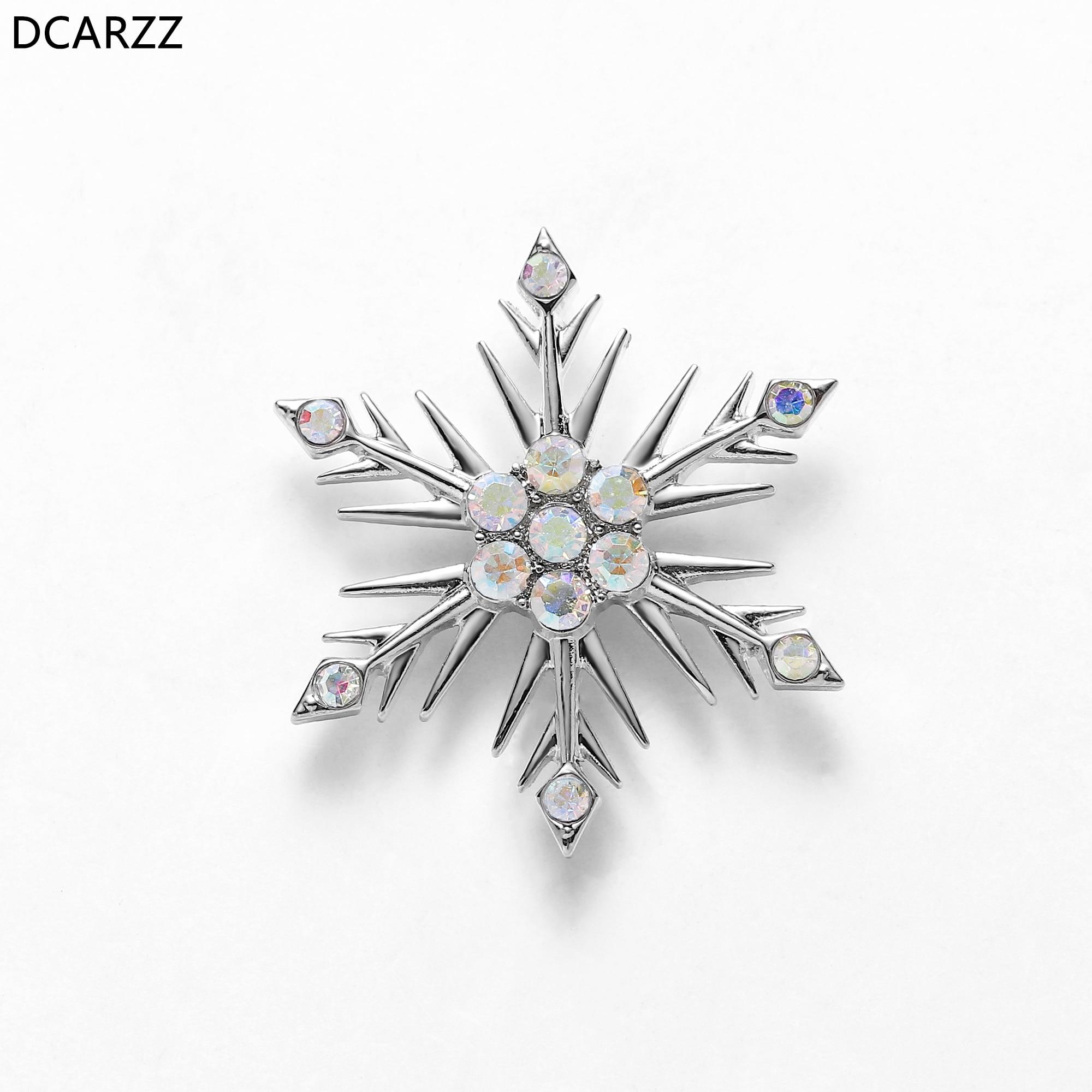 Crystals Snowflake Rhinestone Pin Princess Elsa Anna Brooch Girls Lapel Jewelry Christmas Gift Coat Accessories Corsage Pins