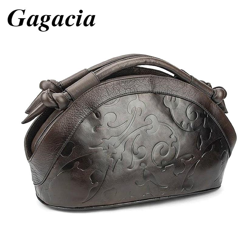 GAGACIA Retro Handmade Women Shoulder Bags For Female Genuine Leather Handbags Hobos 2021 New Luxury Ladies Vintage Embossed Bag