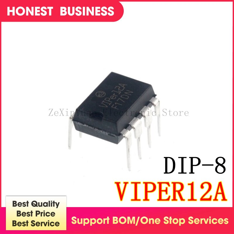 20 Uds.-50 unids/lote VIPER12A VIPER12 DIP-8 baja potencia fuera de línea SMPS interruptor primario IC mejor calidad