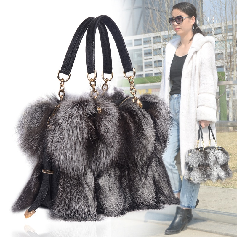Fashion New  Women's Winter Fox Fur Handbag Shoulder Bag Elegant Women's Underarm Bag 100% Fox Fur Handbag Plush Messenger Bag