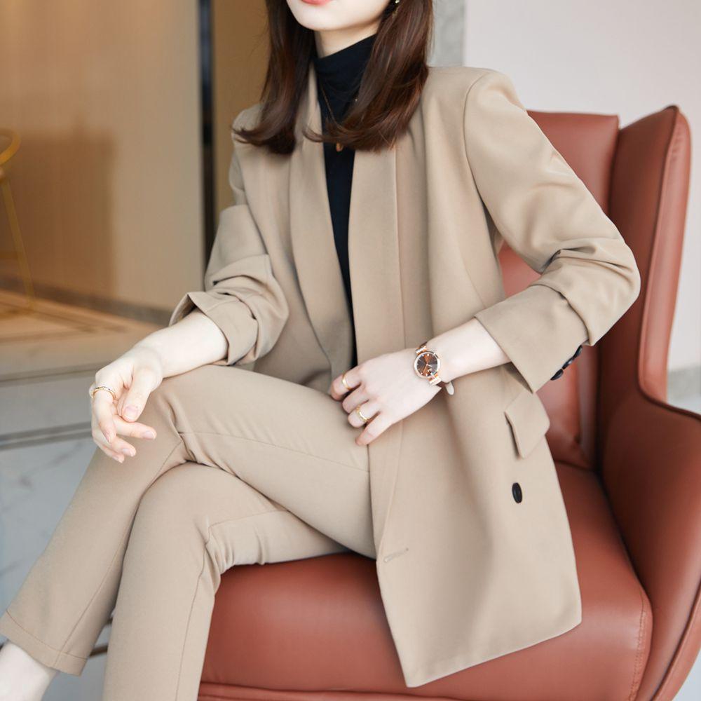 Korean office two piece suit skirt suit autumn and winter elegant long sleeve loose jacket pants two piece women's suit Khaki
