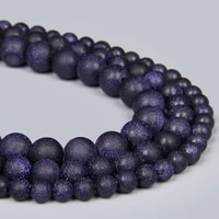 natural matte blue sandstone stone beads for jewelry making round loose beads spacer stone diy bracelet handmade 4 6 8 10 12 mm
