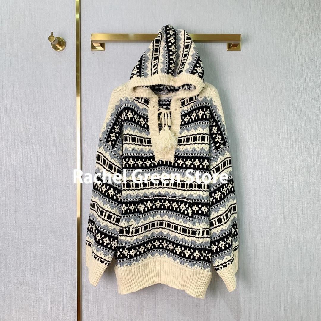 luxury designer high end sweater women Jacquard Sweater Women  Autumn Winter 2021 New Wool hooded vintage style woman Sweaters
