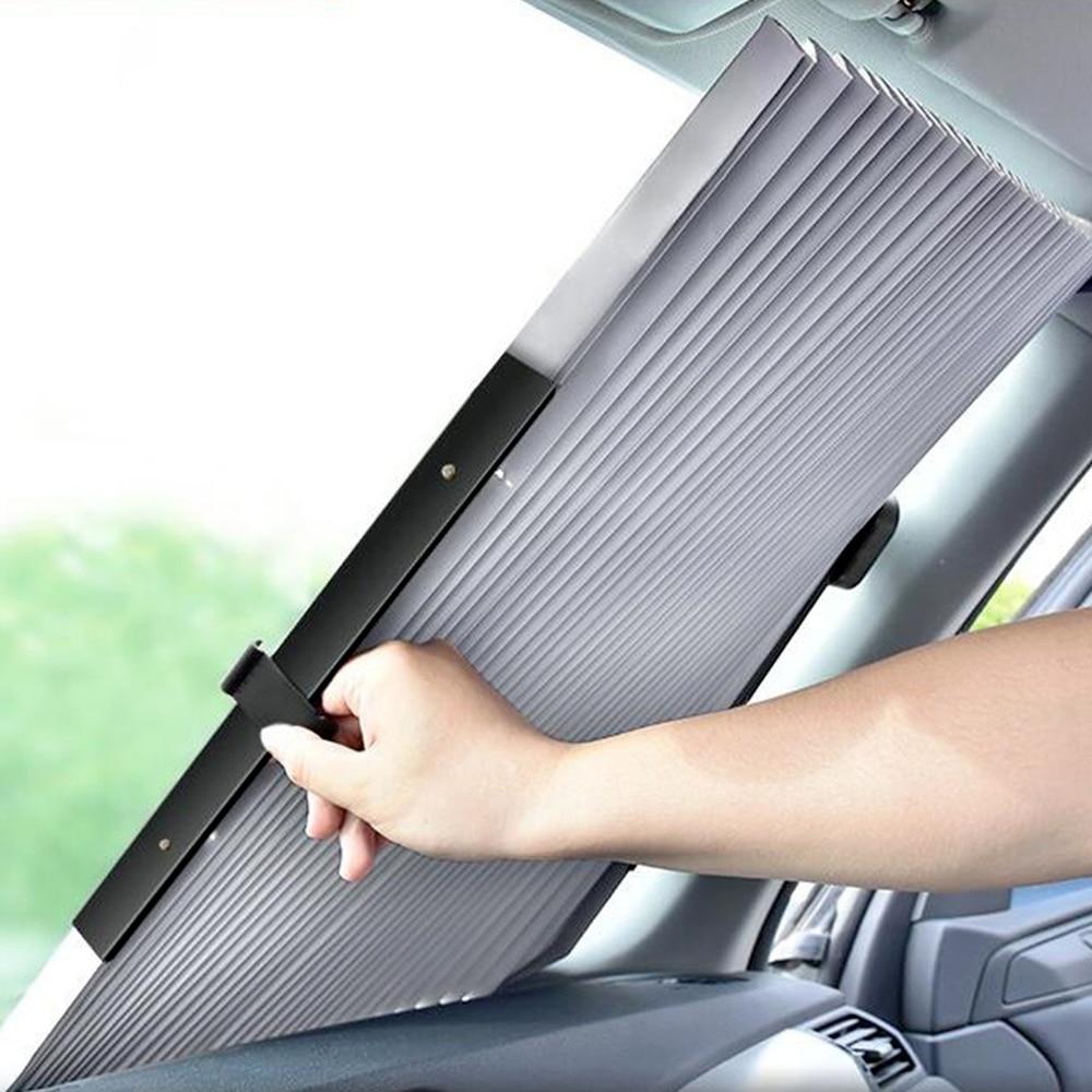Автомобильный выдвижной солнцезащитный козырек на лобовое стекло с защитой от УФ-излучения, автомобильный передний солнцезащитный блок, а...
