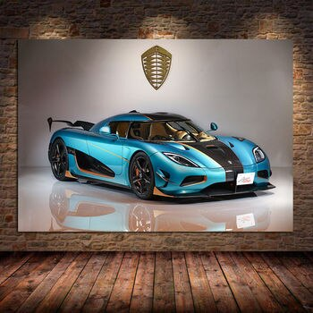 Sportscar Canvas Painting Koenigsegg Agera RSR Light Blue Car Vehicle Wall Art Pictures Posters and Prints For Living Room Decor