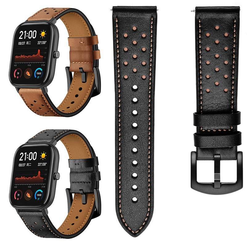 جلدية pulseira مربط الساعة ل Huami Amazfit GTS حزام الفرقة ل Amazfit بيب GTR 47 مللي متر 42 مللي متر Amazfit تيرة ستراتوس 2 3 كوريا