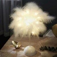Plume Veilleuse LED Fee LUMIERES Lampe de Table Maison Salon Enfants Chambre Bureau Veilleuses Parti Decoration De Mariage