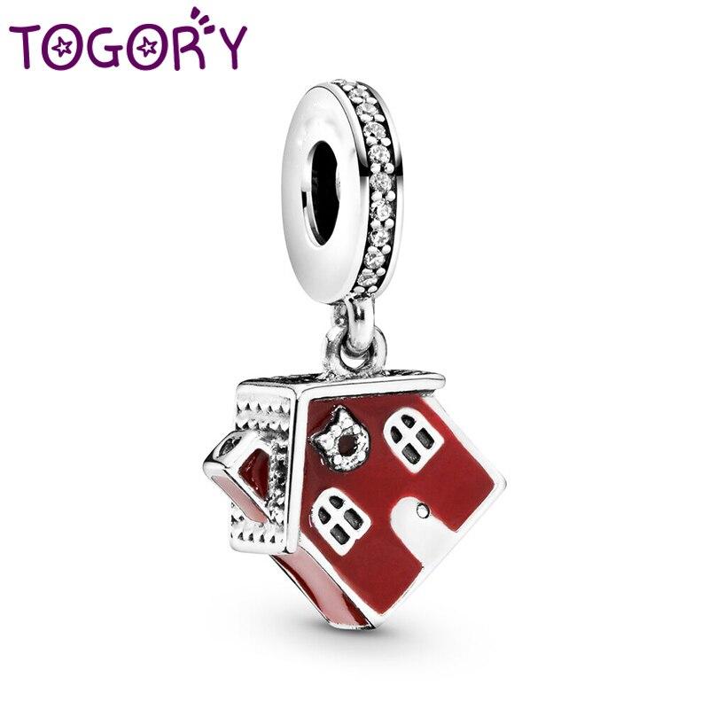 TOGORY 2 unids/lote de cuentas colgantes encantadoras rojas para casa se adapta a pulseras Pandora originales collares para mujer Fabricación de joyería femenina