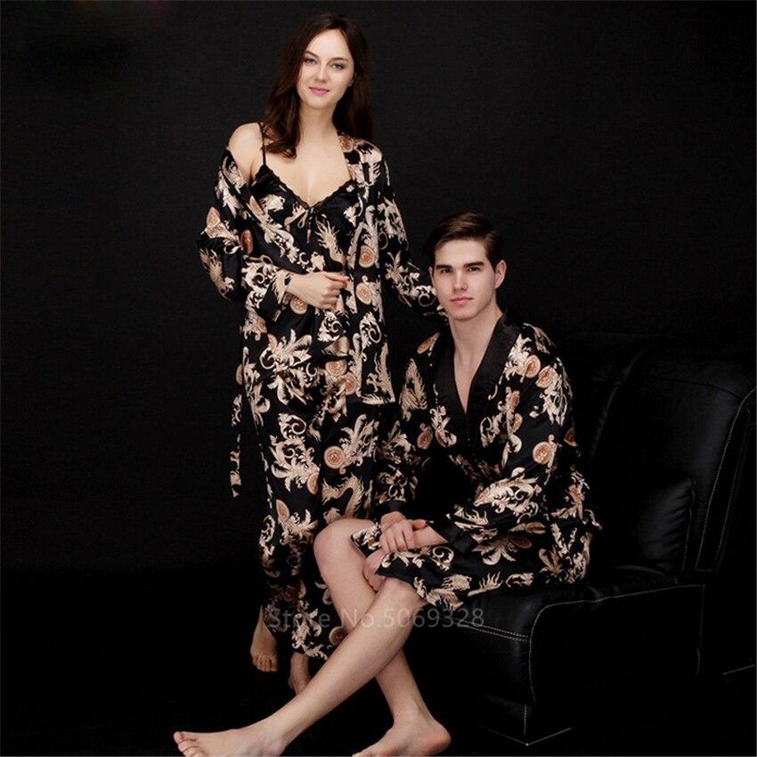 Conjunto de 5 colores Kimono estampado en japonés para adultos Kimono tradicional de seda satinada para hombre y mujer Kardigan Top Pants Set ropa asiática de lujo