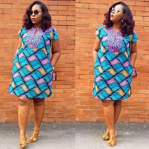 2021 Summer Dress Ladies Boubou Robe Africaine Femme African Print Wax Dresses Dashiki Ankara Mini Dress Fashion Abaya Clothes