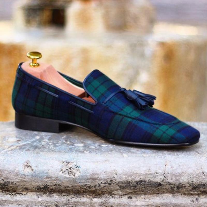 Conjunto Clásico Retro De moda para Hombre, Zapatos a cuadros De alta...