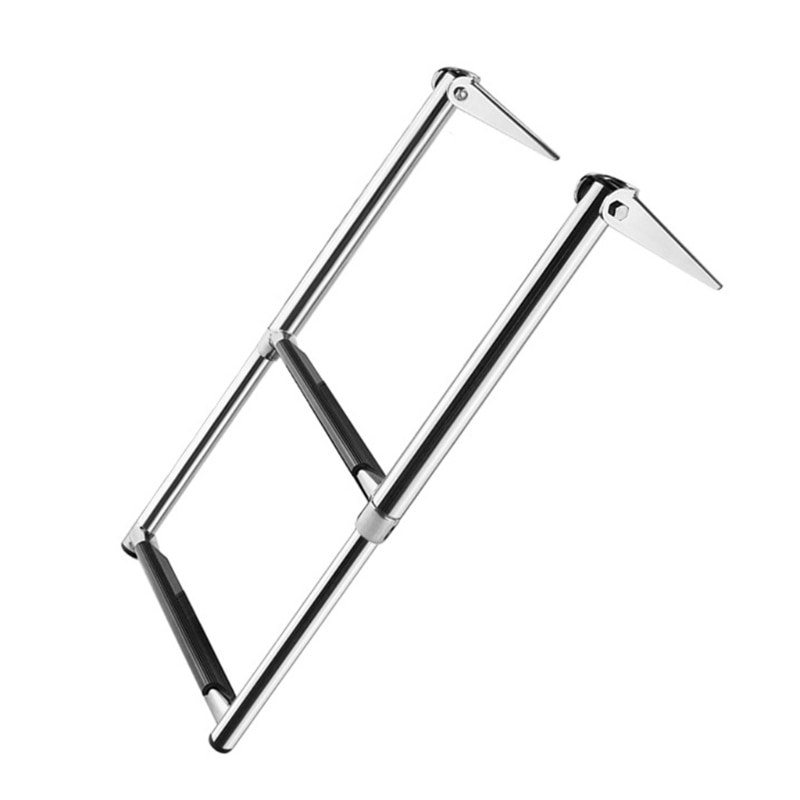 K1KA Boat Ladder 304 Stainless Steel Folding Telescopic Ladder 2-step Marine Launch Ladder Swimming Step Yacht Accessories