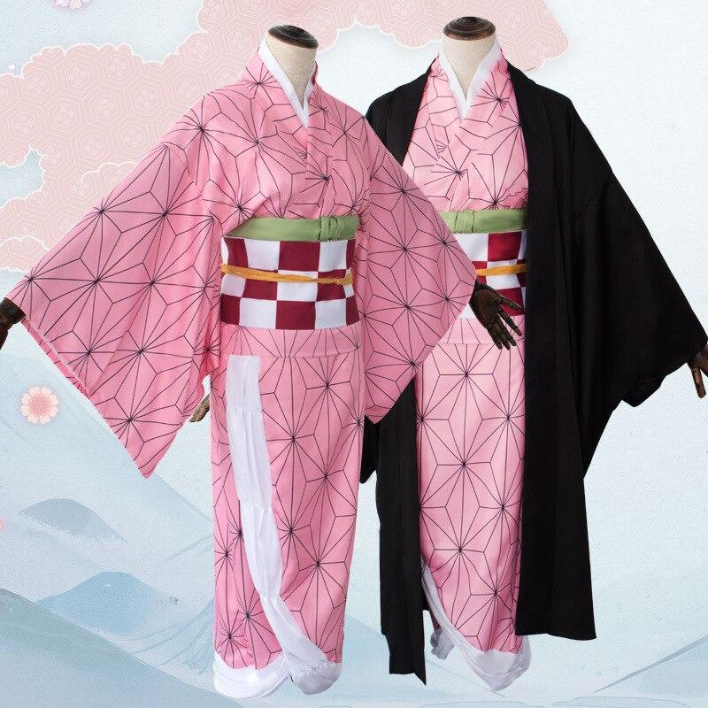 Anime traje cazadora de Cosplay Nezuko traje de Kimono de las mujeres Kimetsu No Yaiba las mujeres Kimono rosa de Halloween Cosplay