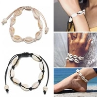 natural sea cowrie shell bracelet for women handmade braided cord foot chain anklet bracelets beach jewelry