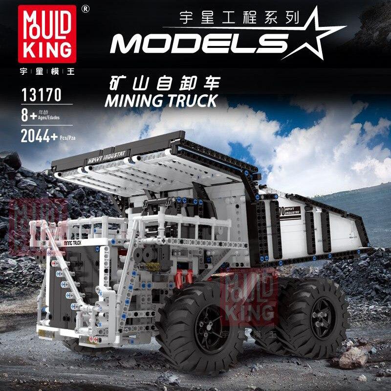13170 2044 Uds. En stock, camión volquete de minería Mould King Technic Series RC, modelo de bloques de construcción, aplicación remota, juguetes de control
