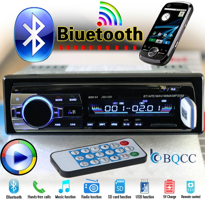 Autoradio 1 din carro estereo para ro rádio bluetooth jsd 520 oto teypleri aux em usb sintonizador 12 v