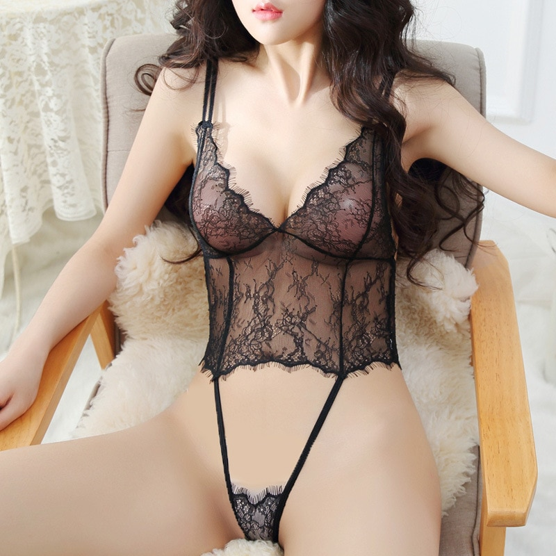 Lace See Through Sexy Bodysuit Female Body Hollow Out Allure Lingerie Sling Perspective Couple Bedro