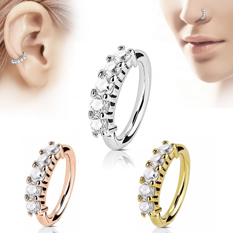 1 Pcs Piercing Nose Ring Expander Seamless Segment Ear Nose Hoops Gold Color Cz Tragus Cartilage Earrings Nostril Body Jewelry