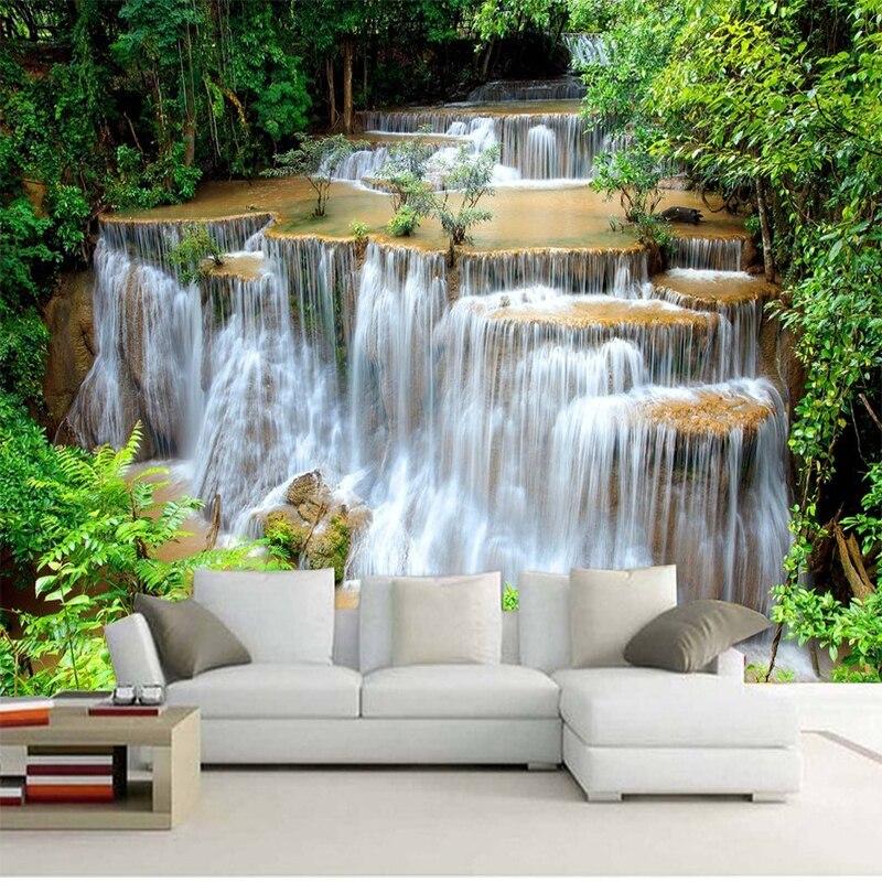 Papel pintado con foto 3D personalizado HD paisaje verde cascada hermoso Mural de fondo de TV, dormitorio, sala de estar no tejido 3D papel de pared