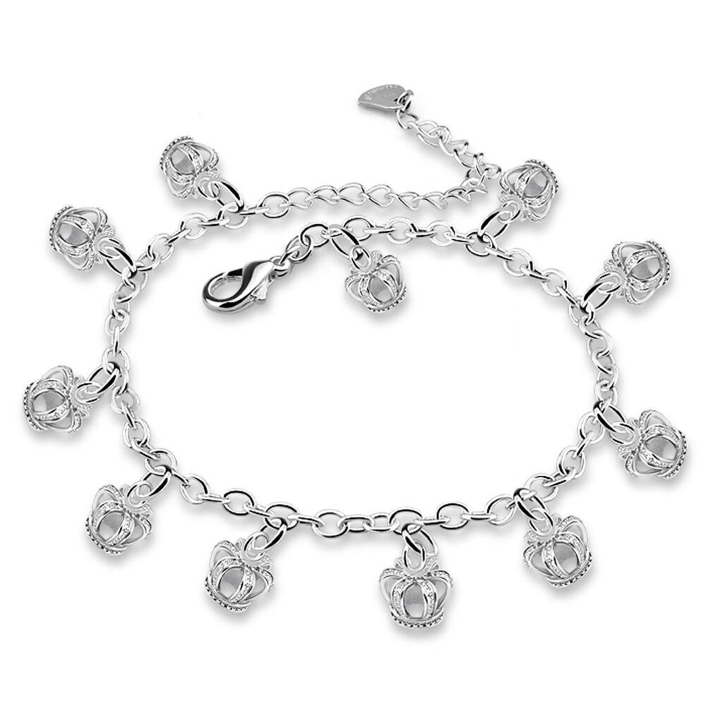 925 sterling silber Farbe crown anhänger fußkettchen Silber frauen Schmuck Fuß Kette Retro Schmuck Glück fußkettchen Für Frauen