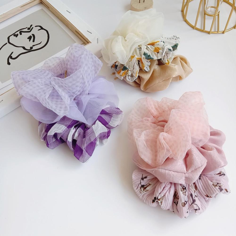 3PCS/Set Women Girls Hair Ties Ropes Ladies Scrunchies Ponytail Holder Elastic Hairband Girl Accessories