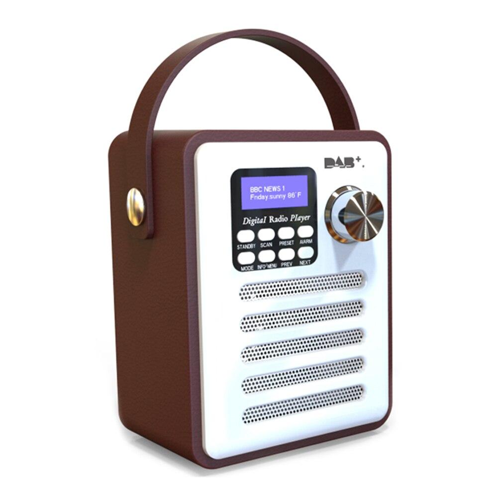DAB reproductor de música estéreo Digital Retro con pantalla LCD, MP3, portátil, recargable, USB, receptor de FM, reproductor de manos libres, madera, Bluetooth