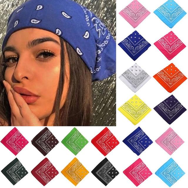 17KM Bohemian Print Bandana Hair Bands for Girls Women Kids Unisex Square Scarf Turban Headband Hair Accessories 60*60cm