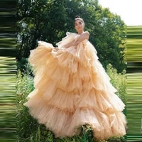 hot sale strapless evening party dresses floor length chic puffy ruffle formal gown layered women long skirt custom made