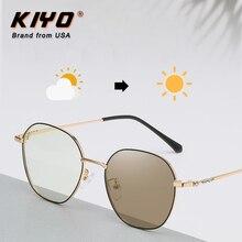 KIYO Brand 2020 New Women Men Round Anti-Blue Light Photochromic Sunglasses Metal Fashion Sun Glasse